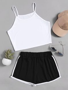 Shop Crop Cami Top With Contrast Trim Shorts online. SheIn offers Crop Cami Top With Contrast Trim Shorts & more to fit your fashionable needs. Cute Lazy Outfits, Teenage Outfits, Teen Fashion Outfits, Sporty Outfits, Yoga Outfits, Fitness Outfits, Fitness Wear, Workout Outfits, 50 Fashion