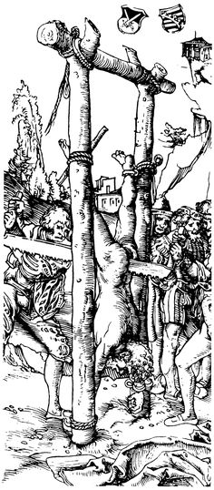 "Death by sawing | ""Zersägen des Heiligen Simon"" (St. Simon sawn in two), c. 1512, illustration by Lucas Cranach the Elder"