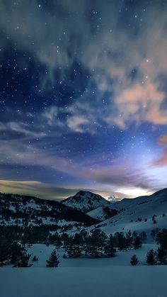 Aurora Star Sky Snow Mountain Winter Nature #iPhone #8 #wallpaper