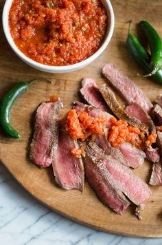 Rib-Eye Steaks with Smokey Arrabiata Sauce Giada De Laurentiis Grilling Recipes, Meat Recipes, Food Processor Recipes, Healthy Recipes, Lamb Recipes, Simple Recipes, Chef Recipes, Arrabiata Sauce, Giada Recipes
