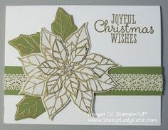 White Poinsettia Christmas Card made with Stampin'UP!'s set: Joyful Christmas
