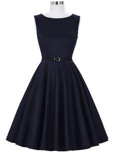 Audrey Hepburn 50s Retro Style Royal Navy Vintage Inspired Swing Dress