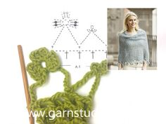 "Crochet DROPS poncho with flower edge, worked top down in ""Alpaca Bouclé"". Drops Design, Crochet Shawl, Free Crochet, Knit Crochet, Thick Yarn, Crochet Woman, Tutorial, Crochet Clothes, Free Pattern"