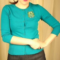 Our Lady Teal Cardigan by Viva Dulce Marina. Gorgeous color.