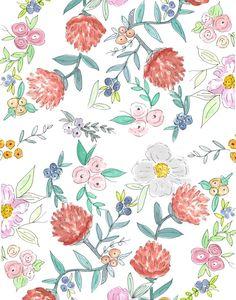 Цветочный Акварельный узор Арт печать, Дженна Катчер | Society6