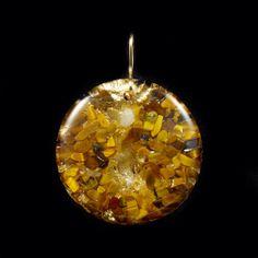Orgonite Round Orgone Energy Pendant. Tibetan Crystals, Tiger Eye, Petalite, Phenacite, Rhodizite, Selenite, Tourmaline, Shungite (880)