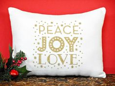 Christmas Accent Pillow Cushion Peace Joy Love Words White Gold Metallic Decorative Gift Repurposed by PookieandJack on Etsy
