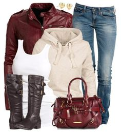 Pretty Winter Outfit With Burberry Satchel - I want the jacket, the boots, and the bag. But especially the jacket