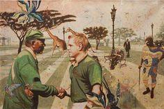 Postcards from Angolan war, 2011 - Painting by Cuban Alexis Esquivel Bermudez Afro Cuban, Cuban Art, Esquivel, Anthropology, Africa, History, Havana, Postcards, 30th