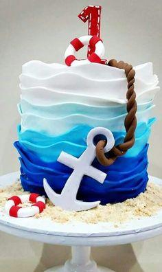 Pastel tematica Marinero Nautical Birthday Cakes, Shark Birthday Cakes, Nautical Cake, Nautical Party, Ocean Cakes, Beach Cakes, Fondant Cakes, Cupcake Cakes, Cupcakes