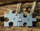 TWO initial puzzle Necklaces, Hand stamped, Initials, Letters, Personalized pendant