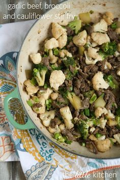 Garlic Beef, Broccoli & Cauliflower Stir Fry Recipe | the little kitchen