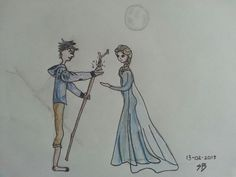Jack Frost and queen Elsa pensil drawing