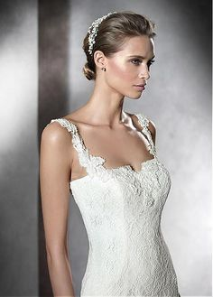 Elegant Lace Square Neckline Sheath Wedding Dress with Beaded Lace Appliques