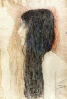 Girl with Long Hair, with a sketch for 'Nude Veritas', 1898 - 1899 - Gustav Klimt Gustav Klimt, Classical Antiquity, Canvas Online, Pastel Paper, Pre Raphaelite, Oil Painting Reproductions, How To Draw Hair, Portrait, Long Hair Styles