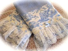 Toile decorated towels | Flickr - www.createdbycath.com