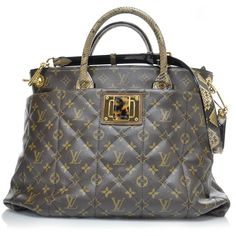 LOUIS VUITTON Monogram Etoile Exotique Python Tote Bag