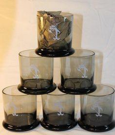 Set 6 Vtg. Star-Kist Sorry Charlie Tuna Smoke Gray Rocks Glasses Cups Highball