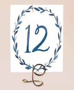 Printable Table Numbers - Blue Watercolor Wreath  - Numbers 1-15 on Etsy, $15.00