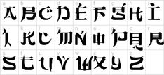 Are you looking for Chinese fonts, Japanese fonts, or Korean fonts? There may be some free fonts in this article that are what you need. Calligraphy Letters Alphabet, Alphabet Symbols, Hand Lettering Alphabet, Caligraphy, Tattoo Lettering Fonts, Graffiti Lettering, Lettering Design, Lettering Tattoo, Lettering Styles
