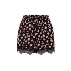 TopShop Floral Lace Trim Shorts ($43) ❤ liked on Polyvore featuring shorts, multi, topshop, drawstring shorts, draw string shorts, topshop shorts and rayon shorts