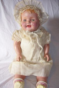 Composition Mama tin eyes white dress by Visit My Dolls, via Flickr
