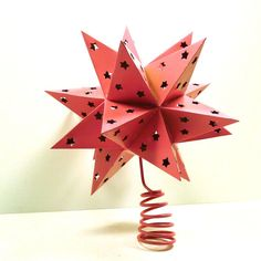 christmas tree topper, star, pink, christmas decor, bright christmas, upcycled, xmas, ornaments, lights, lighted star. $28.00, via Etsy.