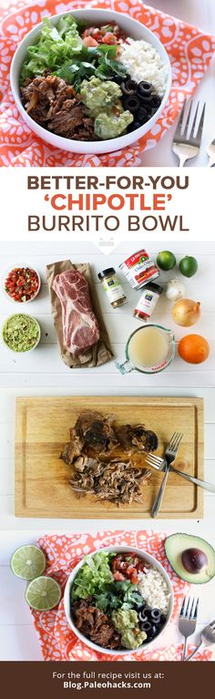 Looking for a meal with lots of leftovers and tons a flavor for busy weeknights? This slow-cooked Better-For-You 'Chipotle' Burrito Bowl is the answer! For the full recipe visit us at: http://paleo.co/chipotlebowl
