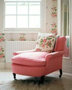 Cath Kidston... romantic rose floral print cushion and wallpaper