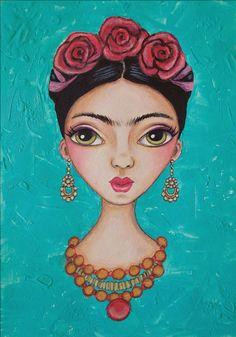 Mixed Media Art Print-Frida with Roses by Serena Bridgeman