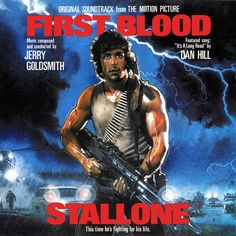 """""""First Blood"""" (1982, That's Entertainment Records).  Music from the movie soundtrack."""
