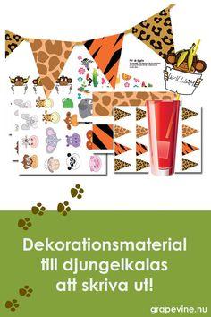 Fint dekorationsmaterial med stora och små vimplar, märken mm. att skriva ut. Gratis med rabattkod här. #barnkalas #kalas #djungelkalas #djungel #safari #djur #dekoration #gratis #printables