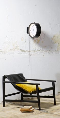 Real leather modern sling armchair