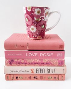 Book, books, flatlay, white, pink, flowers, reading, book love, book addict, coffee, coffee time, coffee mug, pink mug, Cecelia Ahern 'Love, Rosie'. E.M. Forster 'A passage to India'. Rachel Hawkins 'Rebel Belle'