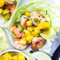 Spicy Coconut Shrimp Lettuce Wraps with Mango Basil Salsa - quick and easy weeknight dinner or delicious appetizer! 1 red, 1 green, 1 purple, 1/2 blue