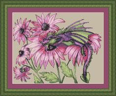 Little Snap Dragon - Cross Stitch Pattern from Kustom Krafts. A tiny little dragon enjoys the sweet smell of the Snapdragons in this Dyan Allaire design. Stitch Count: x Dragon Cross Stitch, Fantasy Cross Stitch, Cross Stitch Kits, Cross Stitch Patterns, Cross Stitching, Cross Stitch Embroidery, Little Dragon, Baby Dragon, Cross Stitch Pictures