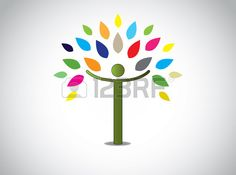 Abstract Colorful Leaves Tree Happy Boy Or Girl With Open Hands ...