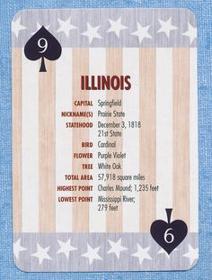 Illinois state stars stripes playing card single swap nine of spades - 1 card