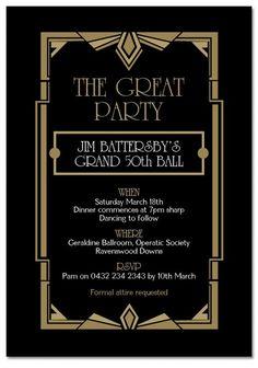 "Gatsby Ball Birthday Invitations - Invitations - ADULTS - Birthday. For all our The Great Gatsby inspired invitation range visit www.paperdivas.com.au. This ""Gatsby Ball"" Birthday invite is ONLY $1.00 EACH!"