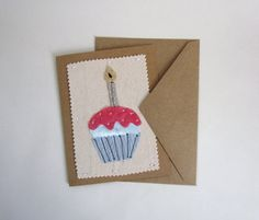 Whimsical Birthday Greeting Card. Birthday Card. Blank Stationary Notecard. Fabric Hand Made Card. HannahSzynal etsy