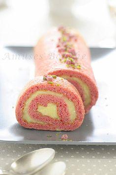 Rolled Raspberry Sponge Cake with Lemon Cream Filling!!