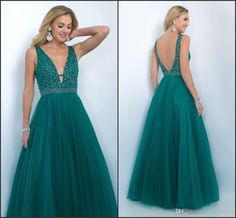 Hunter Green A Line Prom Dresses Long V-neck Backless A-line Prom Dresses  From Molly_bridal, $107.64| Dhgate.Com