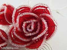 Bouquet of Red and Clear French Beaded Flower. $44.99, via Etsy.