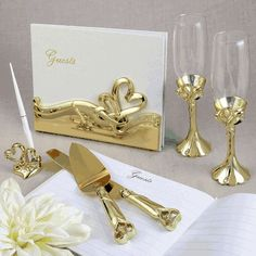 Gold Double Heart Themed Wedding Accessory Set- From Fashioncraft - an exclusive and magnificent double heart themed combination set to cut your wedding cake, offer a toast and create a guest book filled with hand written heartfelt messages! Gold Wedding Theme, Wedding Sets, Wedding Guest Book, Wedding Themes, Wedding Favors, Diy Wedding, Wedding Dresses, Wedding Cake Server, Wedding Shoppe