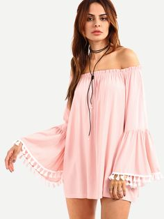 Shop Off-The-Shoulder Tassel Trimmed Bell Sleeve Blouse - Pink online. SheIn offers Off-The-Shoulder Tassel Trimmed Bell Sleeve Blouse - Pink &…