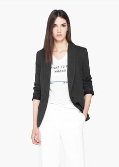 Essential cotton-blend blazer -  Women | MANGO