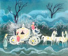Animation Art:Concept Art, Mary Blair Cinderella Coach, watercolor painting for Disney..