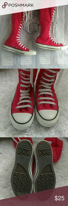 Lace Up Knee Converse Knee high sz 8 women's - 6 mens. A little damage please review last photo. Converse Shoes Sneakers