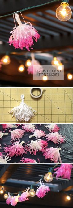 DIY Tissue Tassel String Lights - give your string lights a whimsical upgrade!