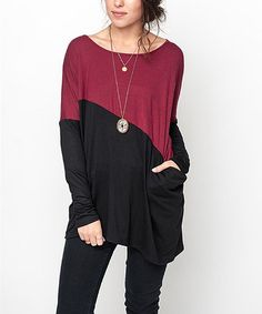 Loving this Burgundy & Black Asymmetrical Color Block Tunic on #zulily! #zulilyfinds
